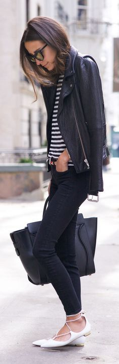 leather + lace-up ballet flats