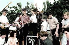 John singing with the Quarymen in 1957, the day he met Paul McCartney.