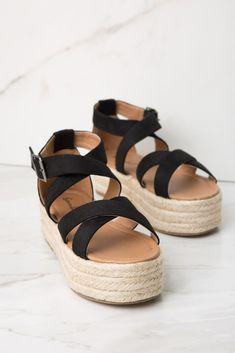 143955ba8d2 Black Faux Suede Crisscross Espadrille Platform Sandal