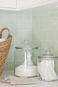 uniformity: laundry soap + dryer sheets in jars that are pleasing to the eye, instead of commercial packaging.