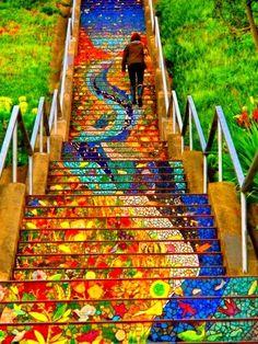 couleurs vives, paysage, peinture, couleurs chaudes et froides, support est original