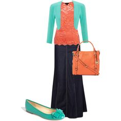 A fashion look featuring ruched top, sleeveless shirts and blue skirt. Browse and shop related looks.