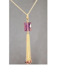 Necklace 287 Large amethyst bead with chain by CalicoJunoJewelry, $108.00