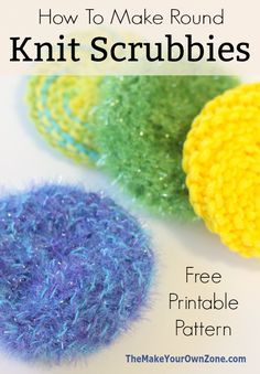 Round Knit Scrubby Pattern Scrubbies Crochet Pattern, Knitted Dishcloth Patterns Free, Knitted Washcloths, Knit Dishcloth, Easy Knitting Patterns, Loom Knitting, Crochet Patterns, Knitting Needles, Small Knitting Projects