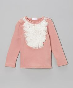 Look at this #zulilyfind! Blush Lace Ruffle Top - Toddler & Girls by Just Fab Girls #zulilyfinds