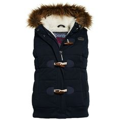 Superdry Microfibre Toggle Puffer Gilet ($110) ❤ liked on Polyvore featuring outerwear, vests, navy, women, blue quilted vest, navy vest, puff vest, blue puffer vest and navy blue quilted vest