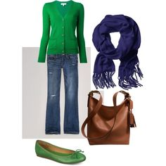Blue and Green Comfortable Outfit