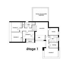 plan maison moderne toit plat étage 1