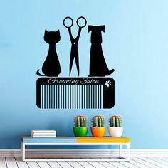 Grooming Salon Wall Decal Pet Shop Vinyl Sticker Decals Dog Comb Scissors Grooming Salon Decor Interior Art Murals Window Decal AN731