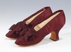 Burgandy Heels: Slippers, Evening J. Ferry Date: 1885–95 Culture: French Medium: silk