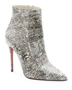 So Kate 100 Calf Caligraf Red Sole Booties by Christian Louboutin at Neiman Marcus Louboutin Shoes, Heeled Boots, Bootie Boots, Shoe Boots, Black Pumps Heels, Stiletto Heels, Cl Shoes, Christian Louboutin So Kate, Shoes