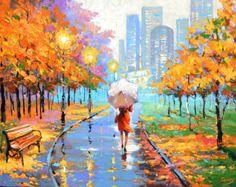 Evening Boulevard. painting by Dmitry Spiros. eiffel by spirosart