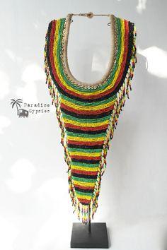 Reggae Bead Tribal Necklace by Paradise Gypsies www.paradise-gypsies.com  www.etsy.com/shop/ParadiseGypsies