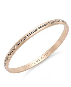 kate spade new york Rose Gold-Tone Crystal Make Me Blush Idiom Bangle Bracelet