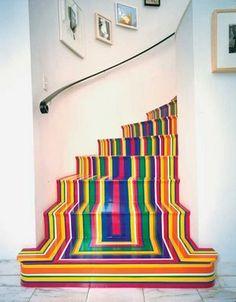 Rainbow striped stairs