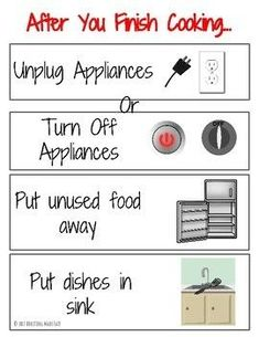 """""""After you finish cooking…"""" Kitchen Safety Task Analysis Visual Life Skills - Parenting Matters Preschool Life Skills, Life Skills Lessons, Life Skills Activities, Life Skills Classroom, Teaching Life Skills, Special Education Classroom, Children Activities, Work Activities, Future Classroom"""