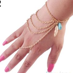 Gold hand chain Cute gold leaf blue bead hand chain zinc alloy new in package 2 available Jewelry Bracelets