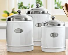 white Kitchen Canisters  | ... kitchen. They are classic looking and go great with my white kitchen