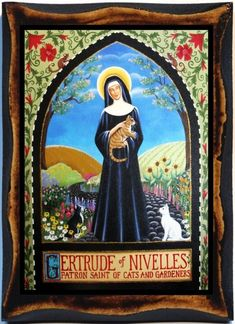 Saint Gertrude of Nivelles Patron of cats Handmade wood icon on plaque | eBay