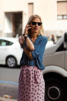 mixing prints Via Alserio photographed by The Sartorialist