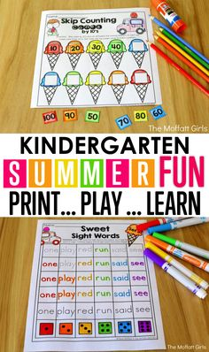 Are you looking for fun activities to keep your kids learning during the summer break?Avoid the summer slide with these hands-on activities that are perfect for kindergarten students going into grade! summer activities for kindergarten Summer School Activities, Educational Activities For Kids, Kids Learning, Fun Activities, Early Learning, Summer Lesson, Kindergarten Activities, Kindergarten Crafts Summer, Summer Slide