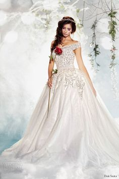 dar sara wedding dresses 2014 off shoulder straps ball gown