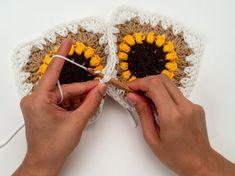 The Sunflower Blanket Crochet Pattern by BrennaAnnHandmade - Hobium Blog Crochet Baby Blanket Tutorial, Crochet Square Blanket, Crochet Cardigan Pattern, Granny Square Crochet Pattern, Afghan Crochet Patterns, Crochet Squares, Crochet Beanie, Crochet Starfish, Crochet Sunflower