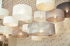 Luna and Soho pendants, finished in beautiful Harlequin voiles - Decorex 2014 - Copper & Silk