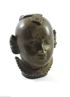 1800s Antique Hand Crafted Engraved Brass Lady Face Figurine (Gangaur). G7-683