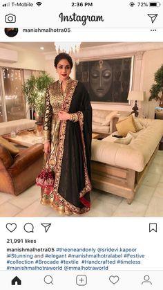 Sri Devi Kapoor In A Beautiful Anarkali Design By Manish Malhotra Punjabi Dress, Saree Dress, Pakistani Dresses, Indian Dresses, Indian Outfits, India Fashion, Ethnic Fashion, Indian Attire, Indian Wear