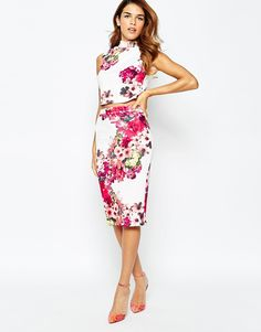 Image 1 of Michelle Keegan Loves Lipsy All Over Textured Floral Pencil Skirt