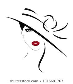 Pencil Art Drawings, Art Drawings Sketches, Easy Drawings, Tattoo Sketches, Hat Vector, Vector Free, Black And White Aesthetic, Woman Drawing, Drawing Women