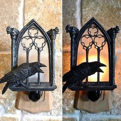 Sculpture of a raven sitting on the sill of an ornate gothic window framed by gargoyles, cast in translucent resin and hand painted on a plug in nightlight. Gothic House, Victorian Gothic, Gothic Windows, Goth Home Decor, Tall Lamps, Gothic Furniture, Gothic Architecture, New Wall, My Dream Home