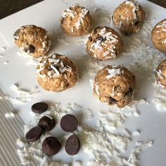 Coconut, almond butter, honey and chocolate are all among my list of favorite foods so I LOVE this recipe!   Coconutty Protein Bites  1 Cup Old Fashioned Oats 1/2 Cup Almond Butter 1/4 Cup Honey 1 Scoop of French Vanilla IdealLean Protein  1/2 Cup Dark Chocolate Chips  ⅓ cup Unsweetened Shredded Coconut  Mix all ingredients together in a bowl. Roll into 20 small bites.  Nutritional info for each bite:  106 cals/6g fat/11g carbs/3g protein
