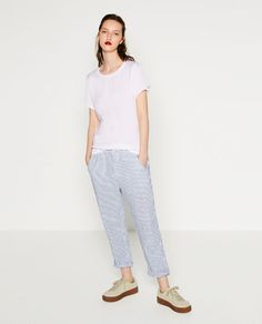 ZARA - WOMAN - MIXED FABRIC T-SHIRT