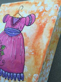 Dress Painting: Pink Whimsical Original Mixed Media Painting