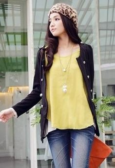 Double-Breasted Long Sleeve Women Black Cotton Coat One Size @LY942811b