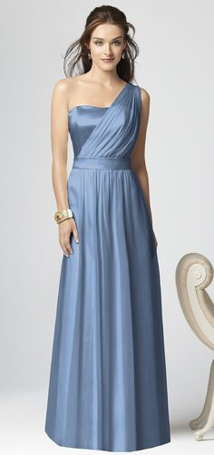 I love the style of this dress! Long and elegant, with the over the shoulder detail to make it interesting and different.   Dessy style 2863 bridesmaid dress in 609-Windsor blue in lux chiffon.  - $250