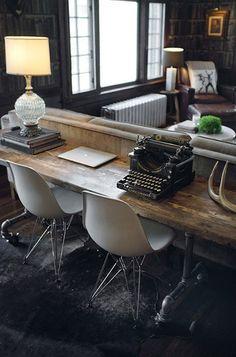 modern office, vintage accessories
