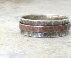Mens Wedding Band Hammered Copper Spinner Ring by SilverSmack