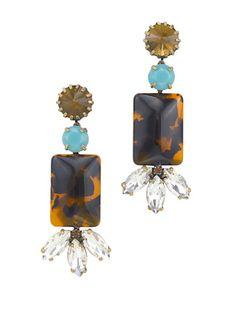 Tortoiseshell, turquoise, crystal earrings