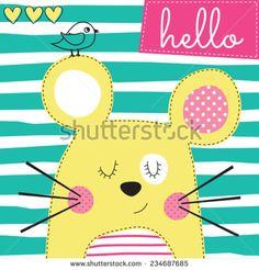 cute yellow mouse with bird vector illustration - stock vector