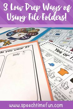 File folders are a useful addition to speech therapy. In this post, I'm sharing three low prep ways to use file folders - quick, easy, and effective tools!