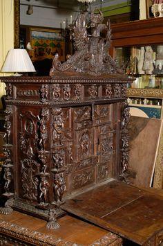 Fine & Large Spanish Carved Oak Vargueno | From a unique collection of antique and modern desks at http://www.1stdibs.com/furniture/storage-case-pieces/desks/