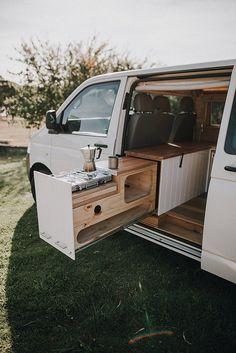 Camper Van Life, Build A Camper Van, Camper Van Kitchen, Van Conversion Interior, Van Interior, T4 Camper Interior Ideas, Ford Van Conversion, Minivan Camper Conversion, Camper Van Conversions