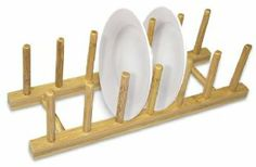 Home Basics Bamboo Dish Rack by Home Basics. $7.99. Bamboo construction is simplistic and natural. Bamboo dish rack offers space for draining and drying after washing. 14-Inch by 4.5-Inch by 4-Inch; smooth bamboo. Bamboo dish rack, provides storage space for dishes to dry. Durable bamboo design allows for easy cleaning and storage. Available slots for dishes to clear up counter space.