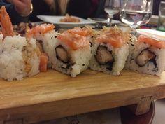 Uramaki ebiten, with salmon-tuna fish and fried shrimps