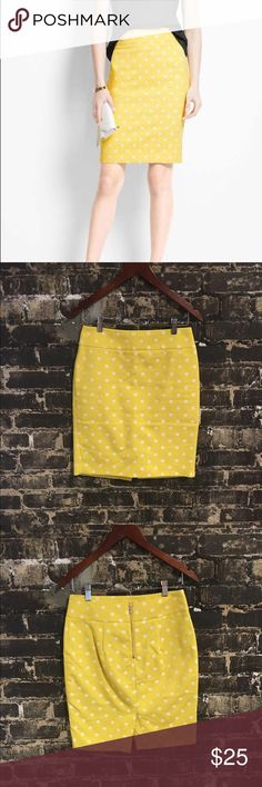 Ann Taylor yellow polka dot pencil Ann Taylor yellow polka dot pencil skirt, size 4P. So cute for fall with a chambray button down and cognac ankle boots! Worn once, perfect condition! Ann Taylor Skirts Pencil