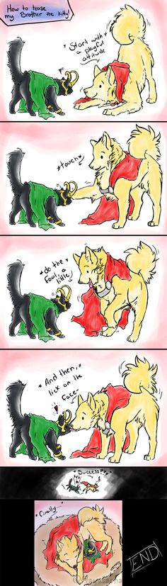 .:Thor-Loki: Lets tease the cat:. by Mayasacha.deviantart.com on @deviantART - I find this too cute!!!