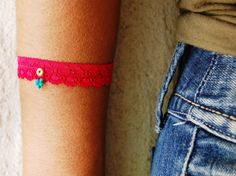 Red Lace Embroidered Bracelet, Gold and Turquoise Bracelet, Every Day Hand Lace Bracelet, Designed Handmade Embroidered Lace Lace Jewelry, Red Jewelry, Lace Bracelet, Cuff Bracelets, Embroidered Lace, Lady In Red, Turquoise Bracelet, Gemstones, Gold